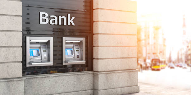 Bank ATM automatic  teller machines for money withdrawing. The station of self service automatic machines, Concept of banking. stock photo