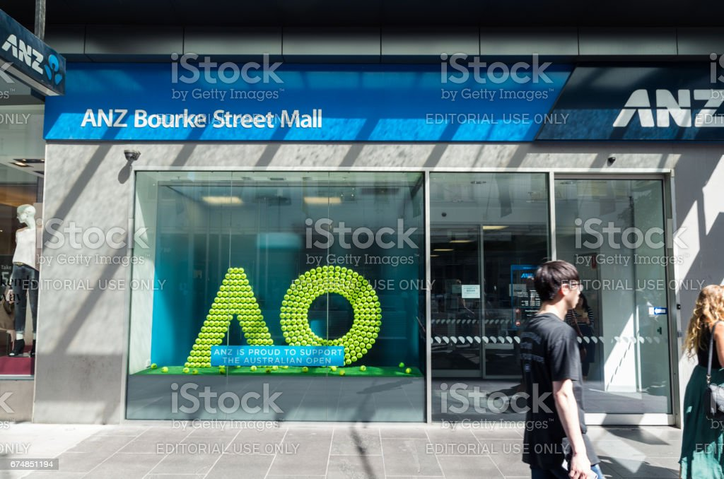ANZ Bank branch in Melbourne stock photo