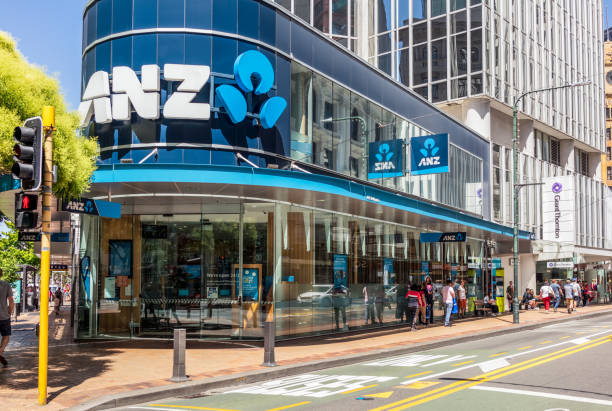 ANZ Bank branch in Wellington, New Zealand stock photo