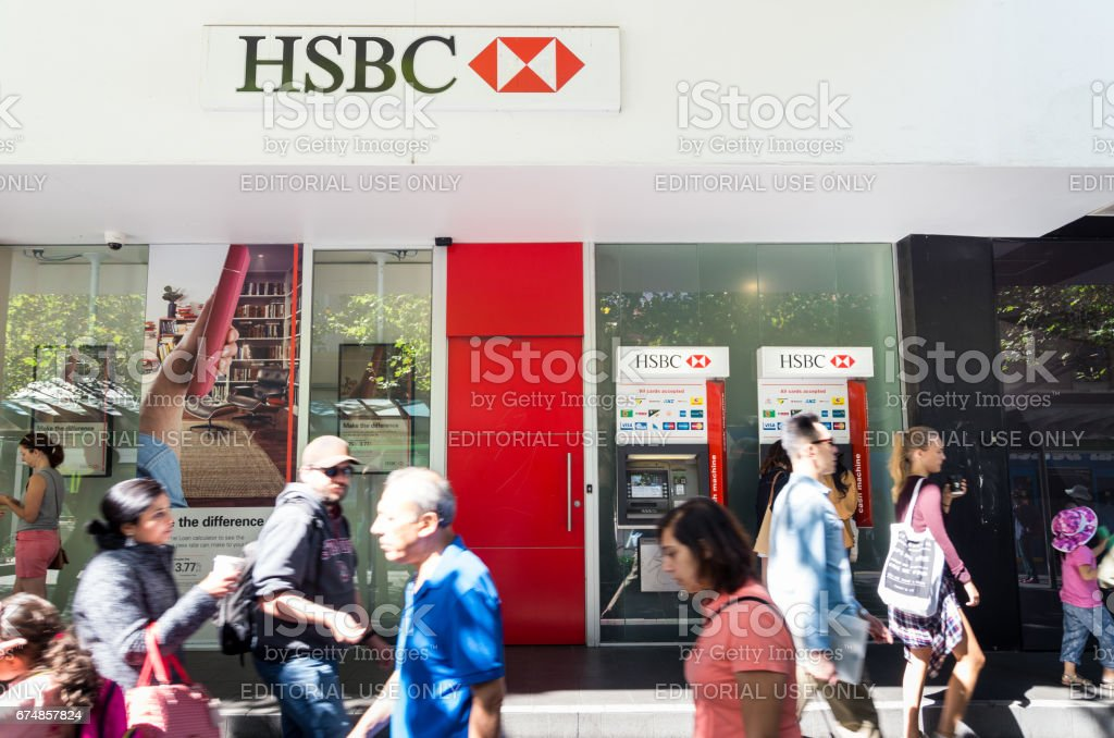 HSBC bank branch on Swanston Street, Melbourne stock photo