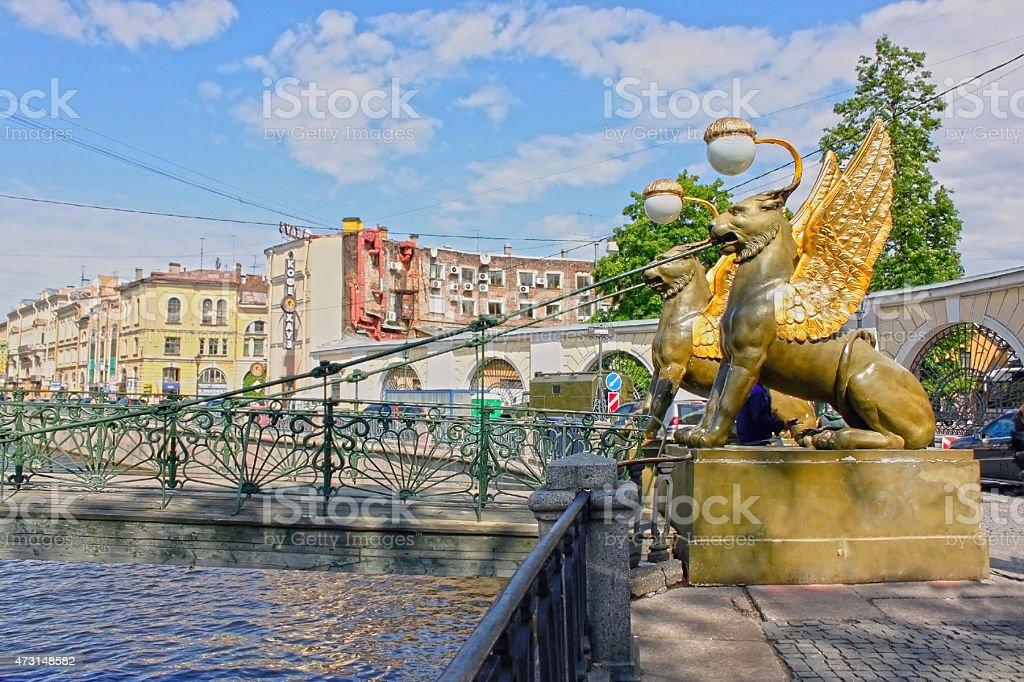 Bank Bridge in Saint Petersburg, Russia. stock photo
