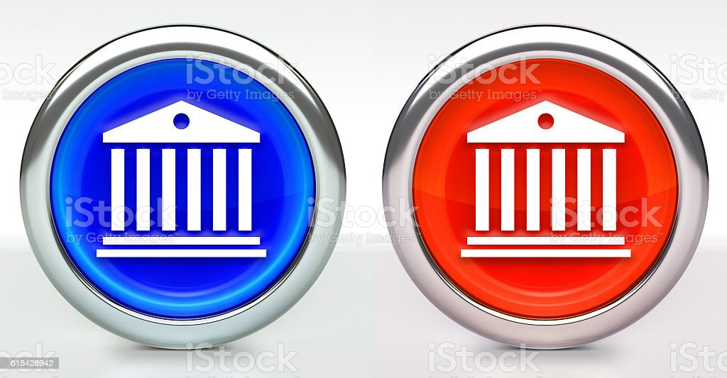 Bank Building Icon on Button with Metallic Rim stock photo