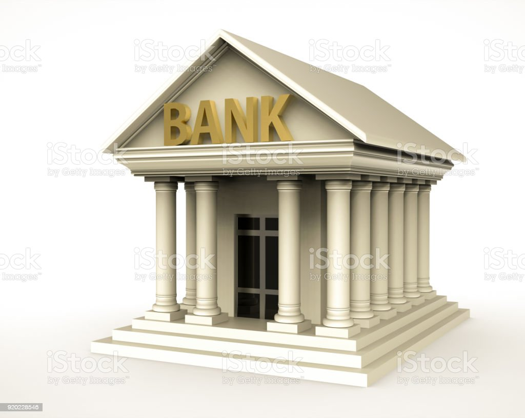 Bank building in antique style with pillar stock photo