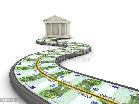 istock Bank Building on Euro Bills Winding Road - 3D Rendering 1125903169