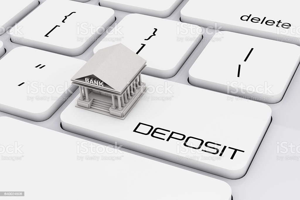 Bank Building over Computer Keyboard with Deposit Sign. 3d Rende stock photo
