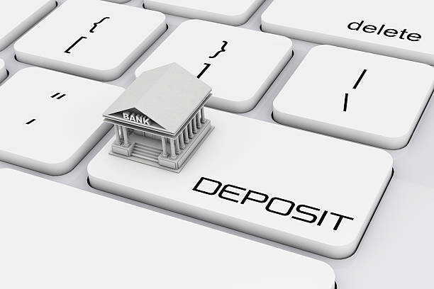 bank building over computer keyboard with deposit sign. 3d rende - deposit slip stock photos and pictures