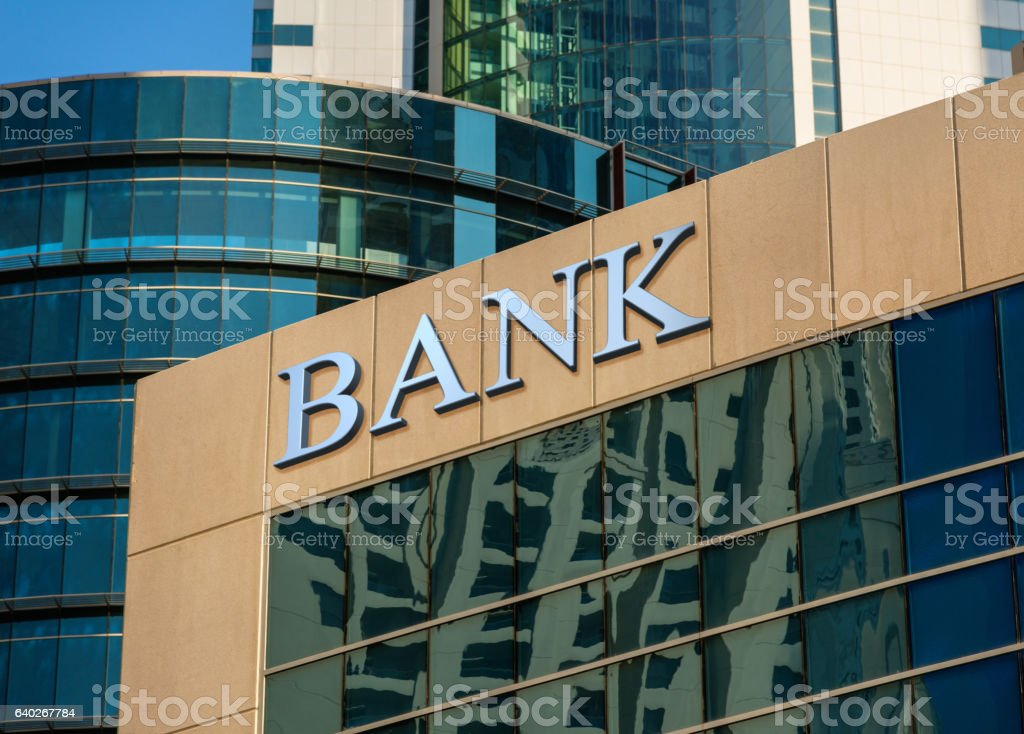Bank building stock photo