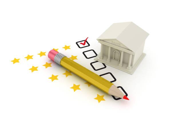 bankgebäude mit fünf sternen umfrage checkliste und bleistift - 3d rendering - bankhaken stock-fotos und bilder