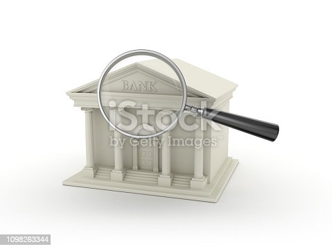 Bank Building with Magnifying Glass - White Background - 3D Rendering