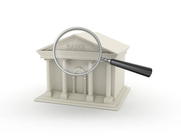 Bankgebäude mit Lupe - 3D Rendering – Foto