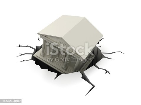 Bank Building with Hole - White Background - 3D Rendering