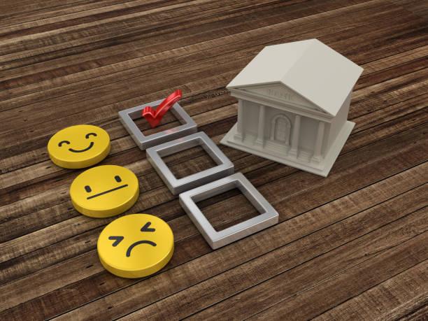 bankgebäude mit survey-feedback-checkliste mit bleistift - 3d rendering - bankhaken stock-fotos und bilder