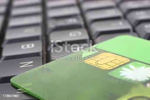 Bank card on keyboard