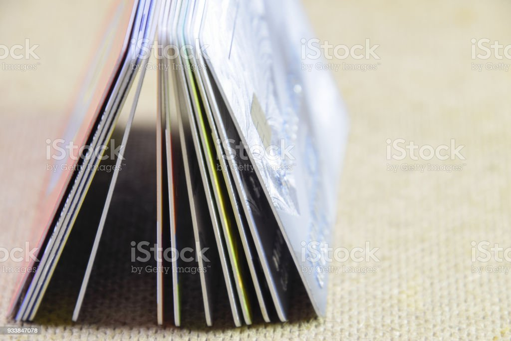 Bank cards. Modern financial instrument of cashless payment stock photo