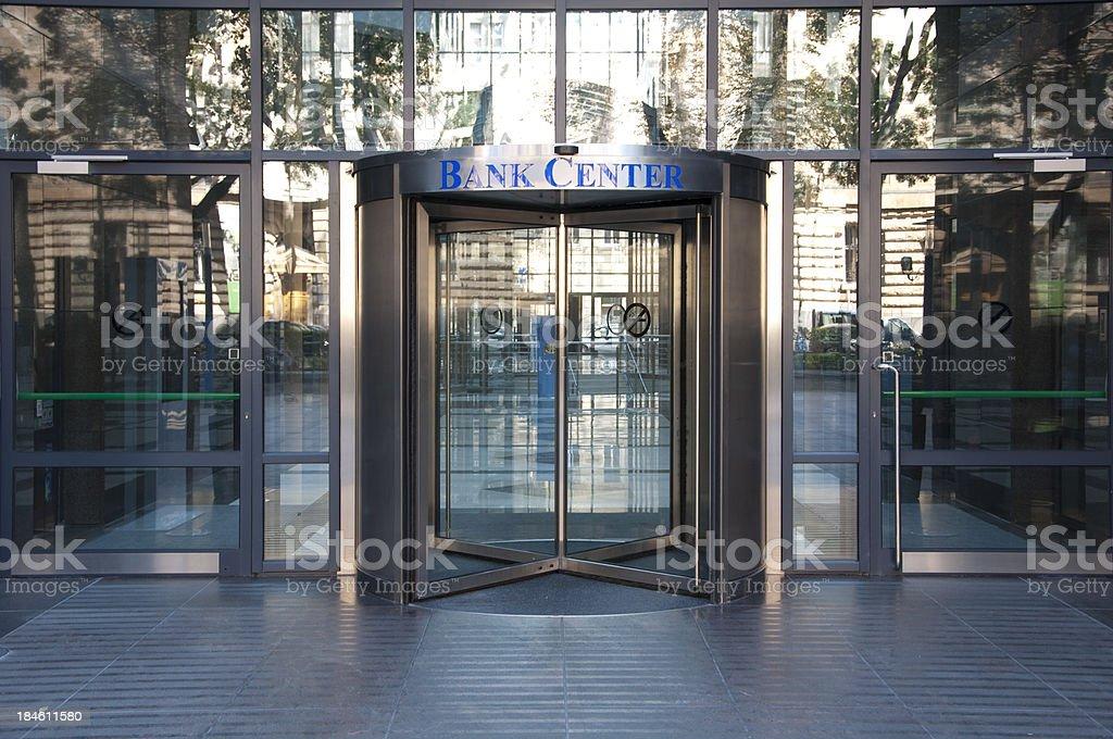 Bank center entrance stock photo