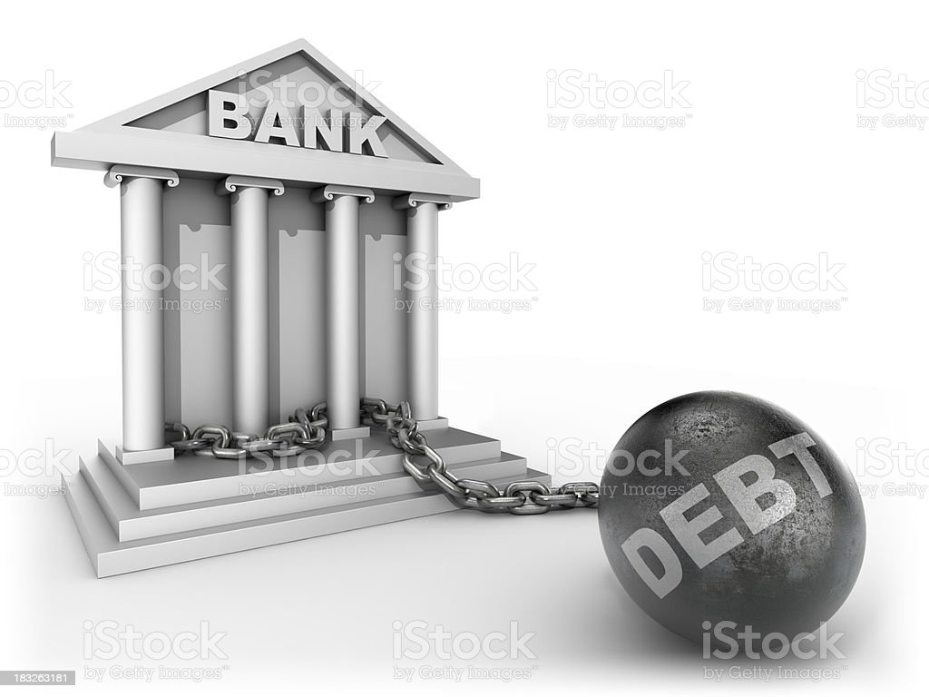 Bank chained to debt - isolated with clipping path royalty-free stock photo