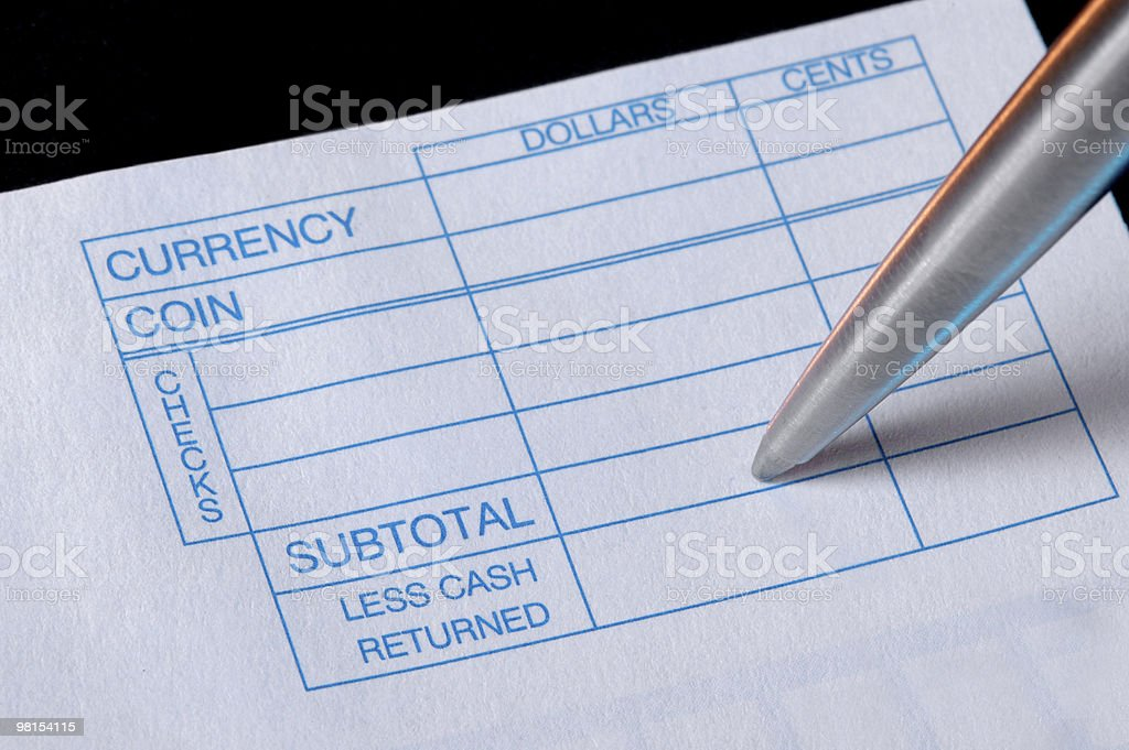 Bank Check Deposit slip royalty-free stock photo
