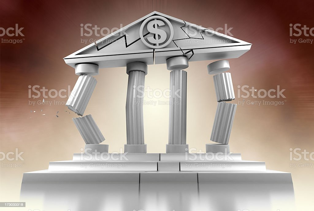 Bank Collapsing stock photo