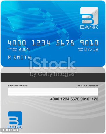 Fictitious bank credit card front and back ready to be customized with additional copy.  Clipping mask is included.