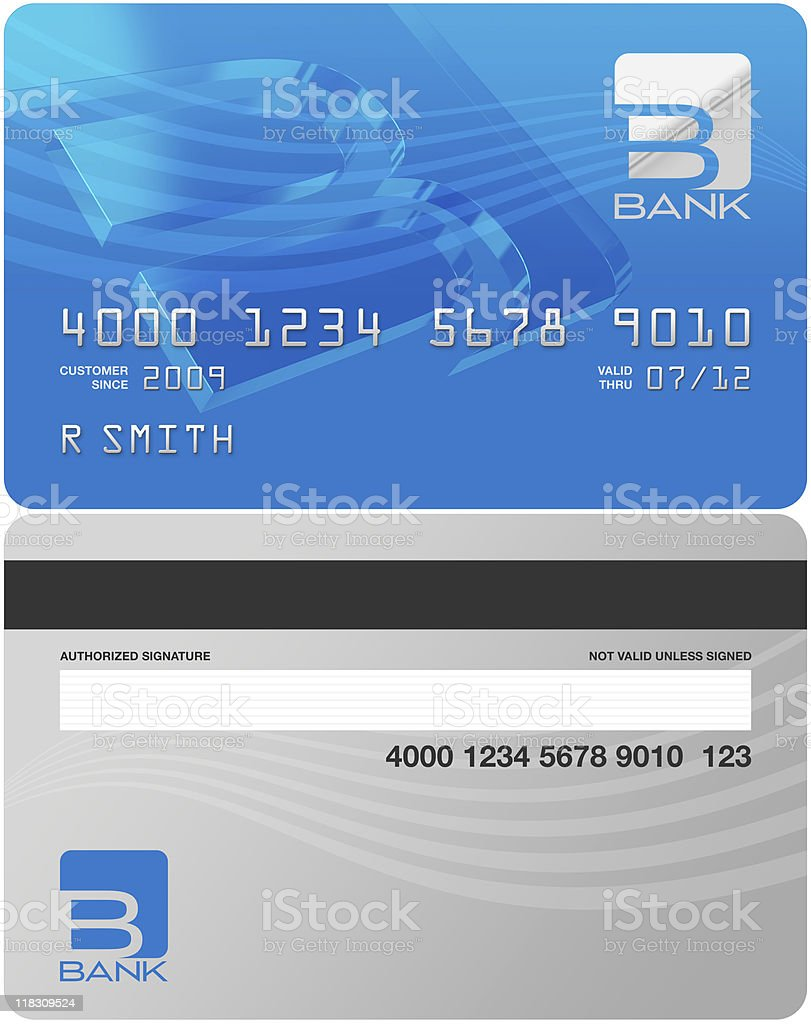 Bank Credit Card Front and Back stock photo