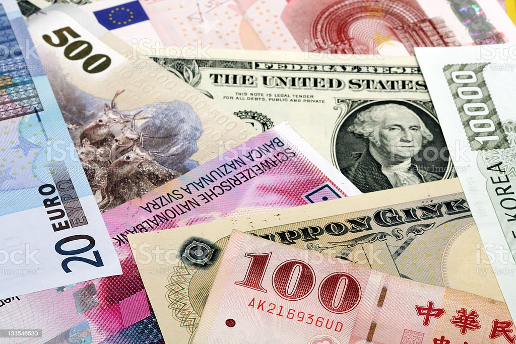 Bank currencies stock photo
