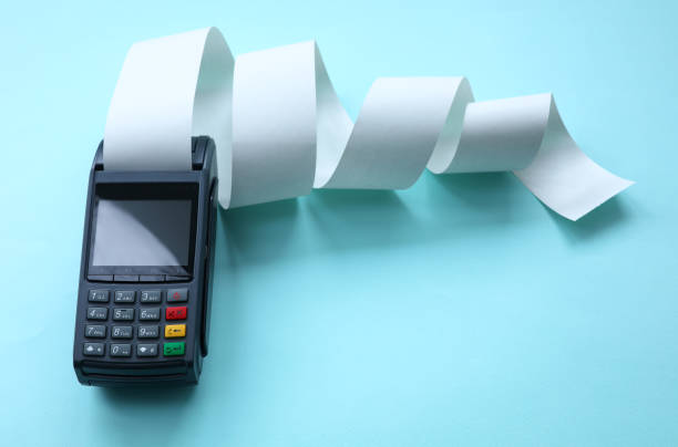 Bank equipment for credit card payments acquiring stock photo