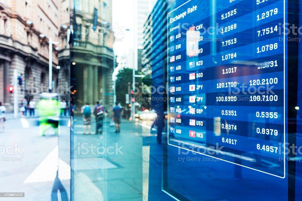 Bank exchange rate display stock photo