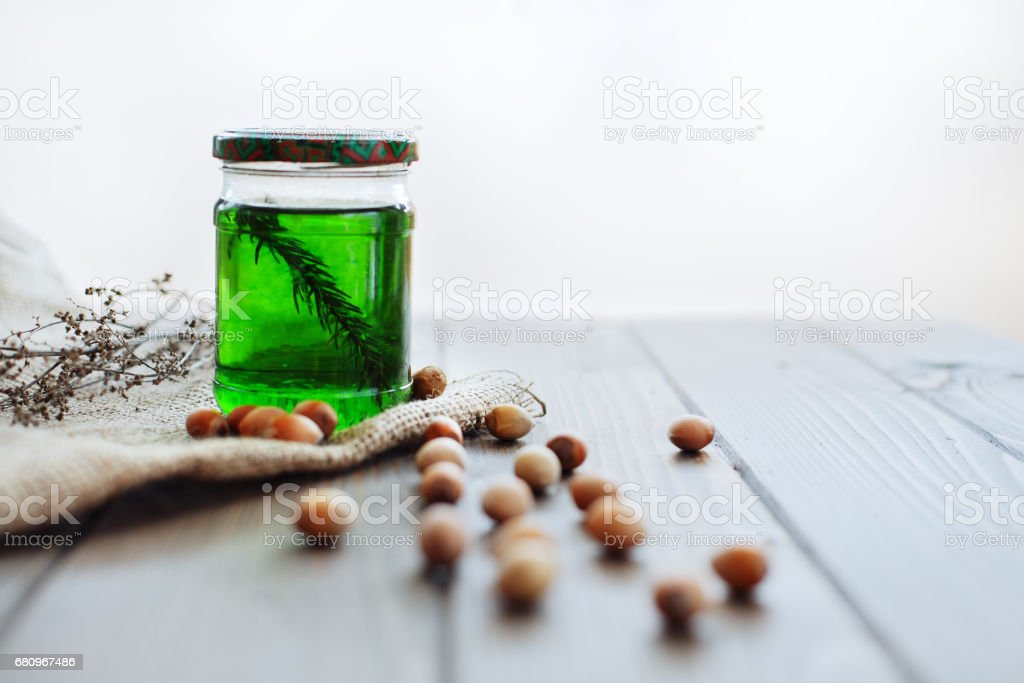 Bank honey with hazel. The concept of food and vitamins. royalty-free stock photo