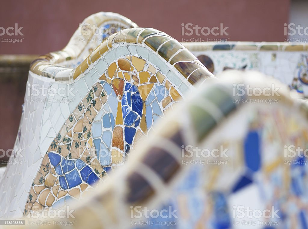 Bank in Park Guell stock photo