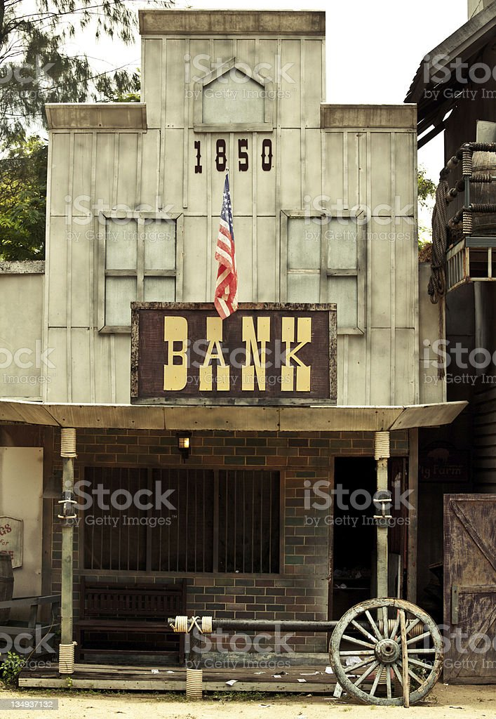 Bank in Wild West stock photo