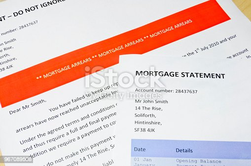 Bank letter informing customer of Mortgage Arrears and repossession  with statement showing