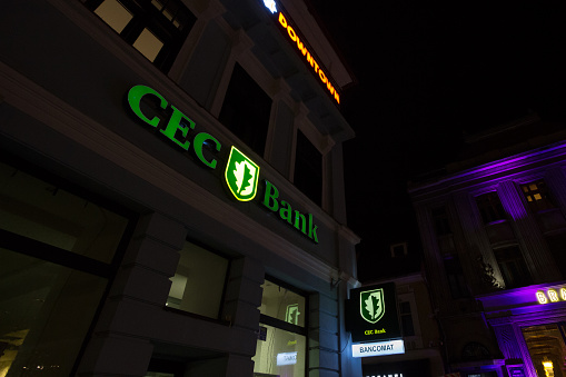 CEC Bank logo in front of a local bank in Bucharest. Cec bank, or casa de economii si consemnatiuni, is a romanian state owned retail banking institution.