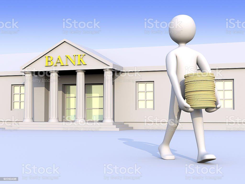 Hombre & dinero banco, - foto de stock
