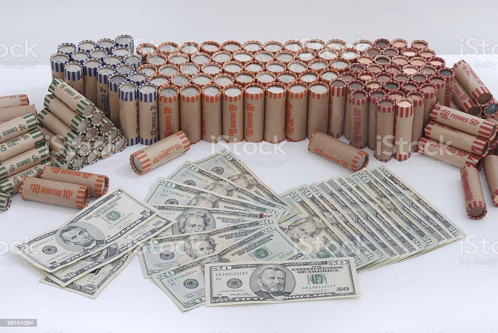 Bank Money Deposit - change and bills royalty-free stock photo