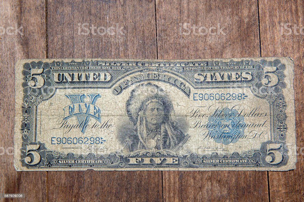 Bank Note - Five Dollar Bill from 1899 stock photo