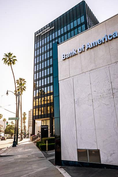 bank of america und morgan stanley-bürogebäude - morgan stanley stock-fotos und bilder