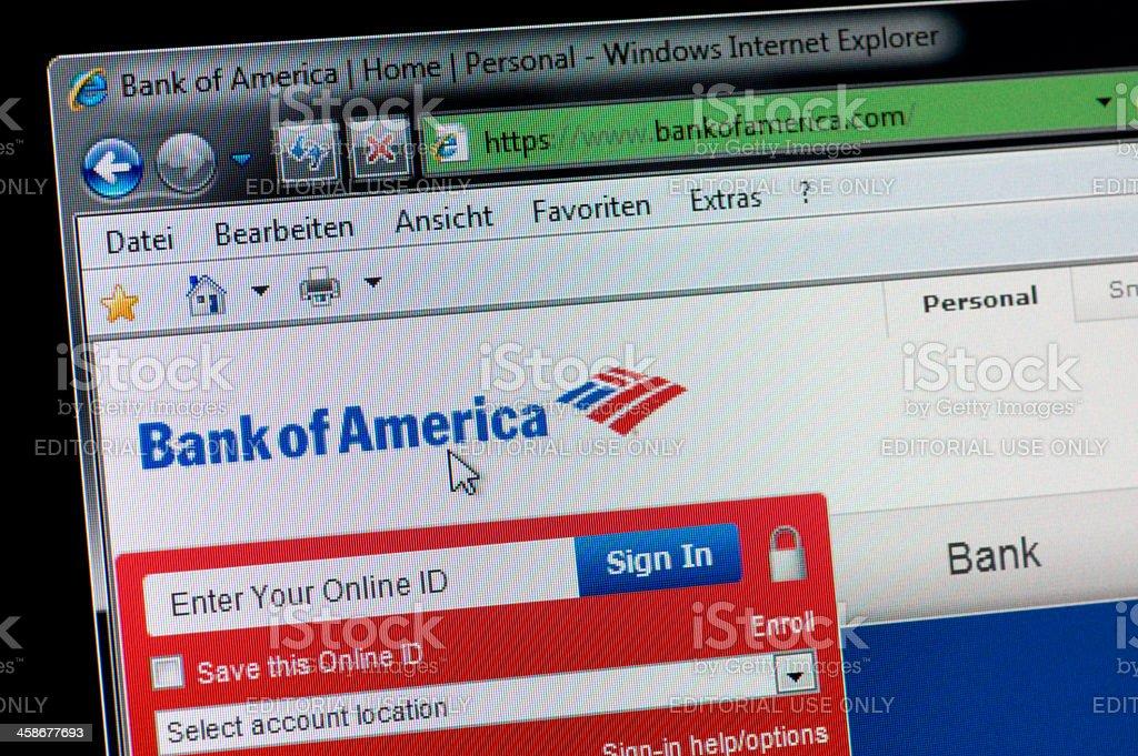 Bank of America - Macro shot from real monitor screen stock photo