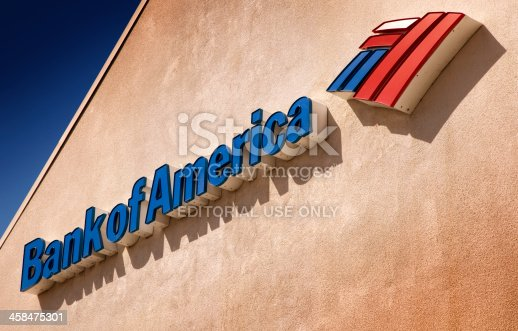 San Diego, California, United States - March 23rd 2011: This is a close up photo of a Bank of America sign at one of their banks. Bank of America is the largest bank in the United States.