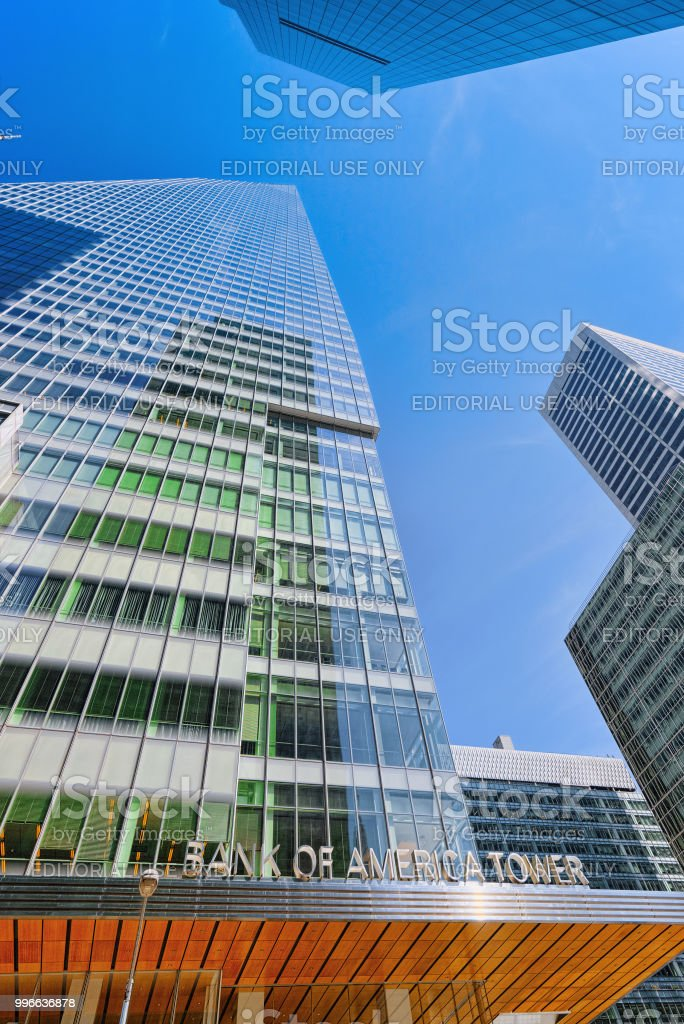 Bank of America Tower and urban cityscape of New York. stock photo