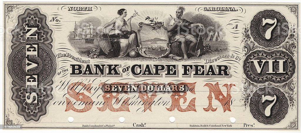 $7 Bank of Cape Fear royalty-free stock photo
