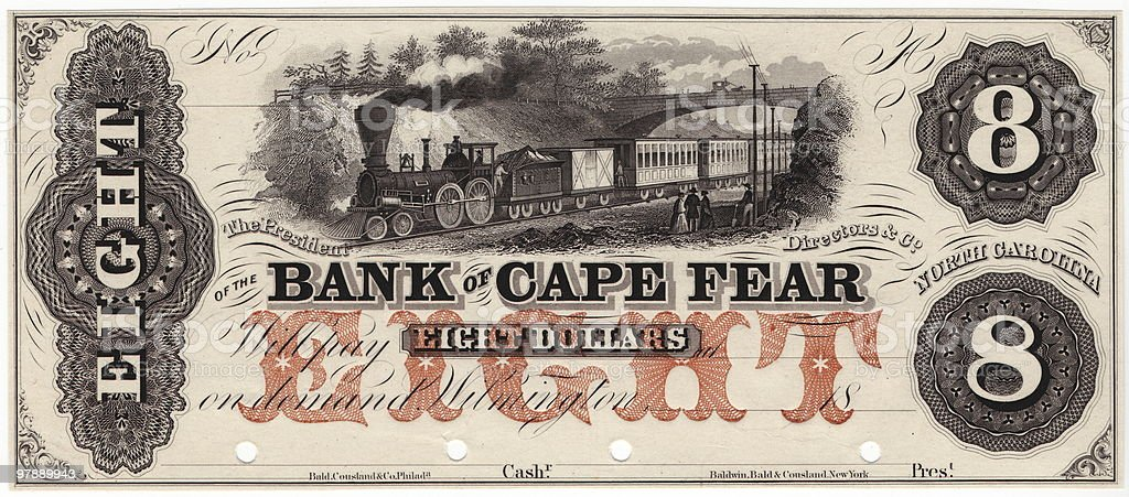 $8 Bank of Cape Fear royalty-free stock photo