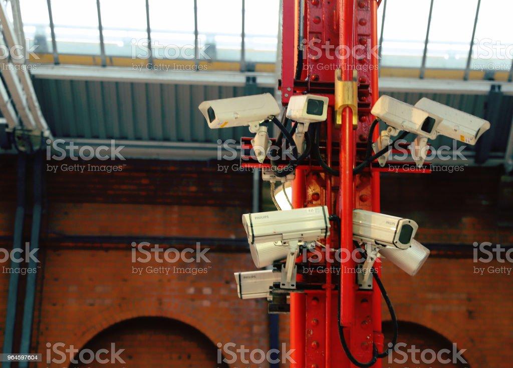 Bank of CCTV Cameras stock photo