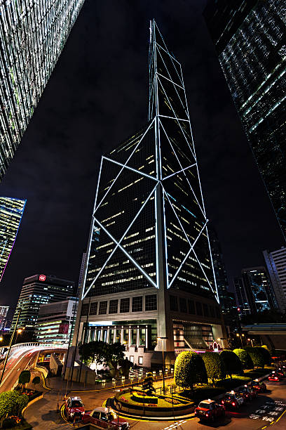 Bank of China Hong Kong, China - February 22, 2013: Bank of China Tower. Hong Kong is a world-famous for its stunning panoramic night view and skyline. bank of china stock pictures, royalty-free photos & images