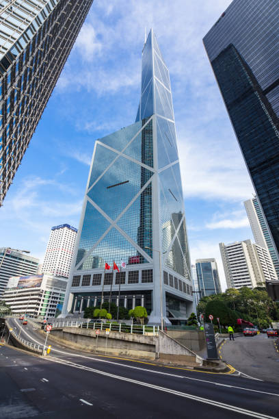 Bank of China Tower, designed by famous architect I. M. Pei. Hong Kong Bank of China tower, designed by famous architect I. M. Pei. Hong Kong, Central, January 2018 bank of china stock pictures, royalty-free photos & images