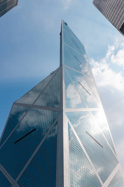 Bank of China Tower Hong Kong - October 4, 2019: Bank of China Tower look up view with blue sky. bank of china stock pictures, royalty-free photos & images