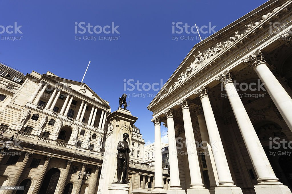 Bank of Engand and Royal Exchange, London stock photo