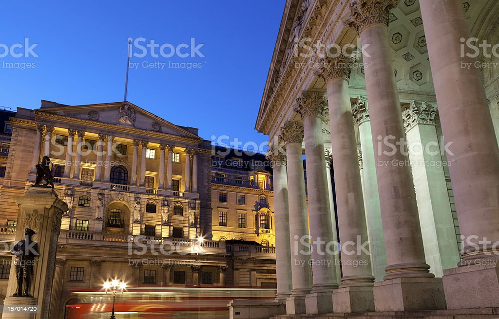 Bank of England and Royal Exchange buildings London stock photo
