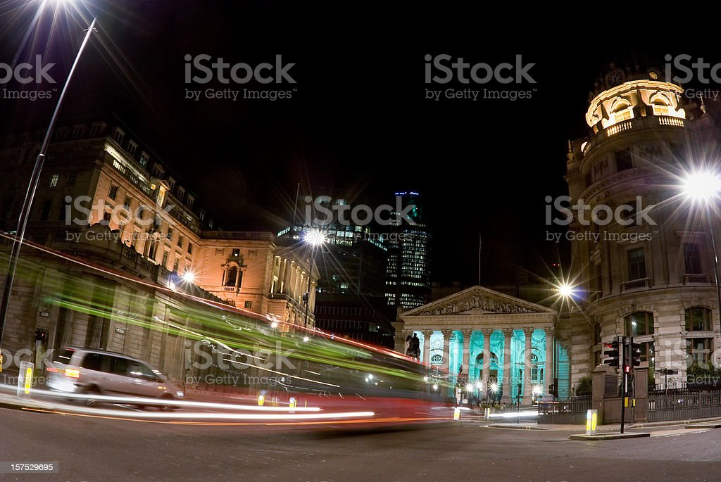 Bank of England and Royal Exchange, London, night motion blur stock photo