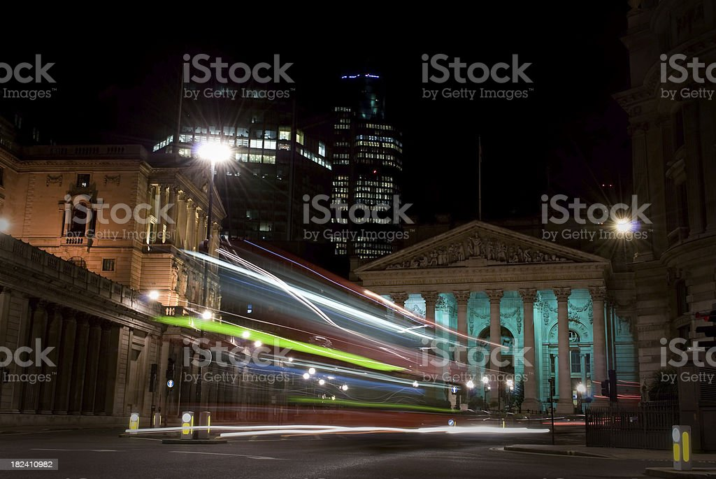 Bank of England and Royal Exchange, London, night motion blur royalty-free stock photo