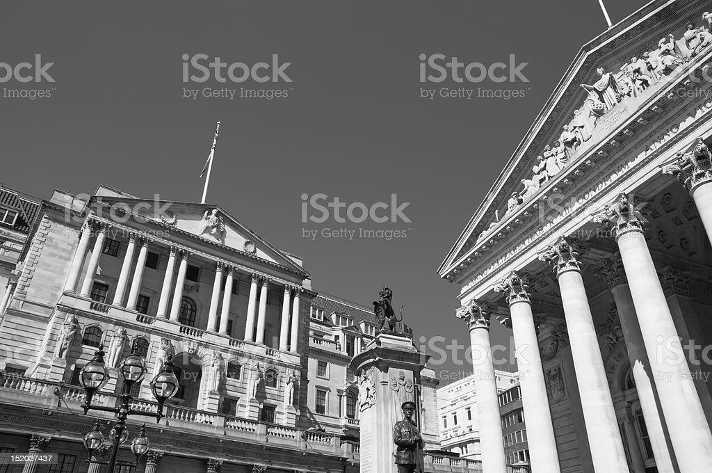 Bank of England and Royal Exchange. London royalty-free stock photo